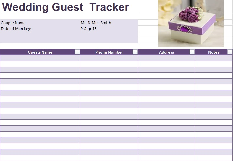 guest list template excel free download