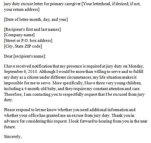 jury duty excuse letter for primary caregiver