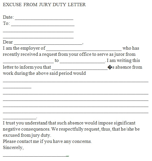 letter to get out of jury duty