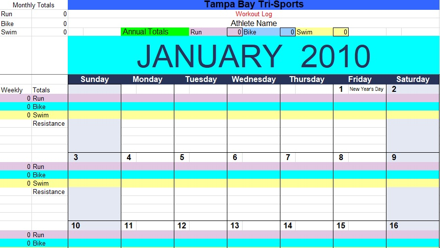 monthly exercise log template