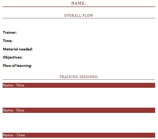 new employee training schedule template