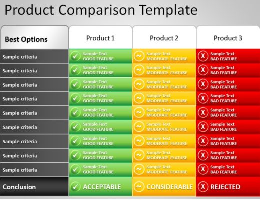 powerpoint template comparison table