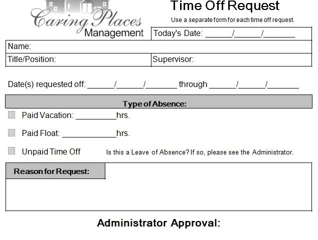request off work form