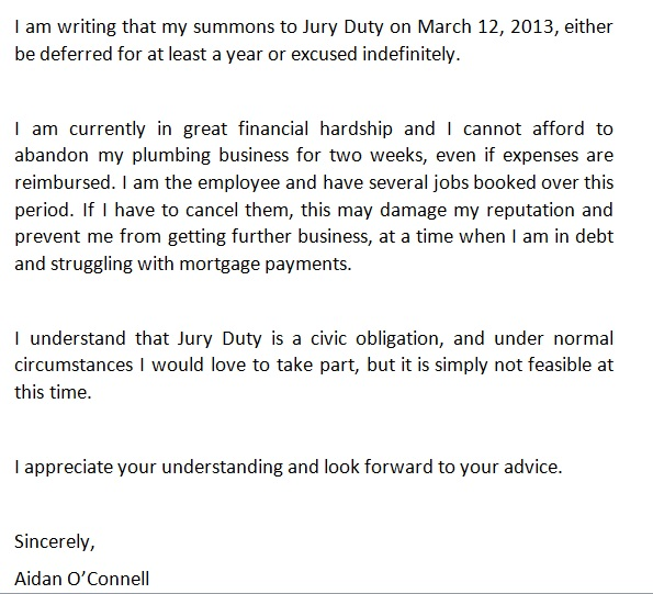 sample letter requesting excuse from jury duty