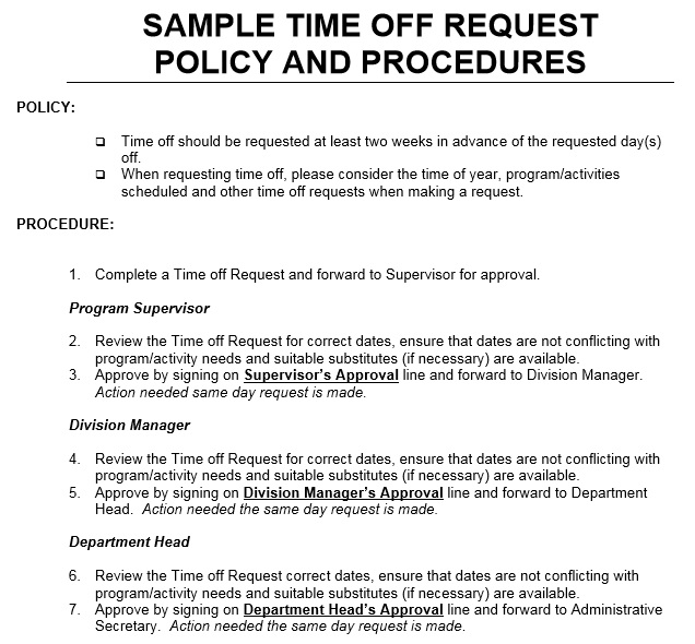 time off request policy template