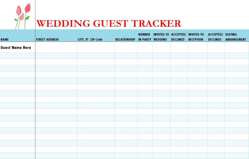 It is a picture of Wedding Guest List Printable within template