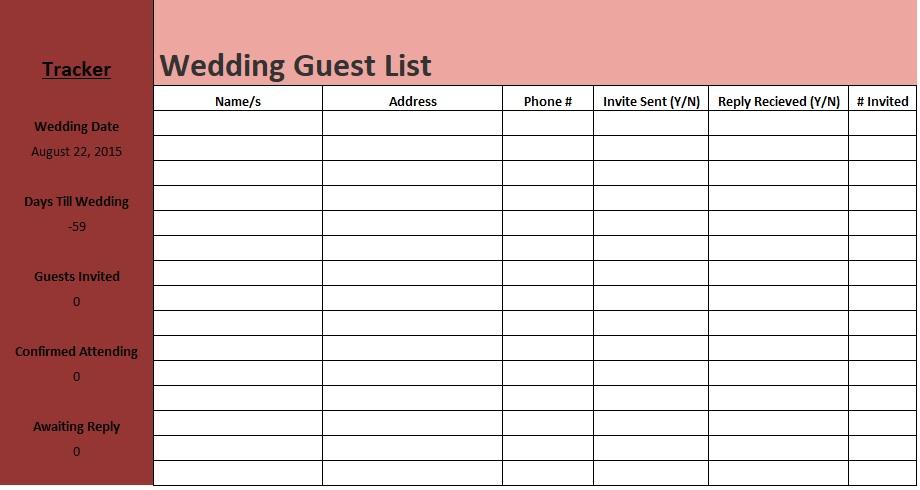 wedding guest spreadsheet