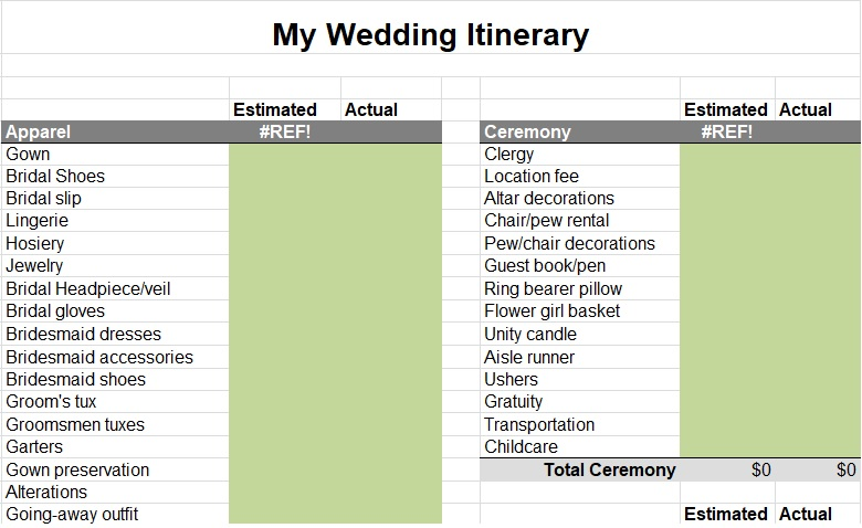 wedding itinerary for guests free