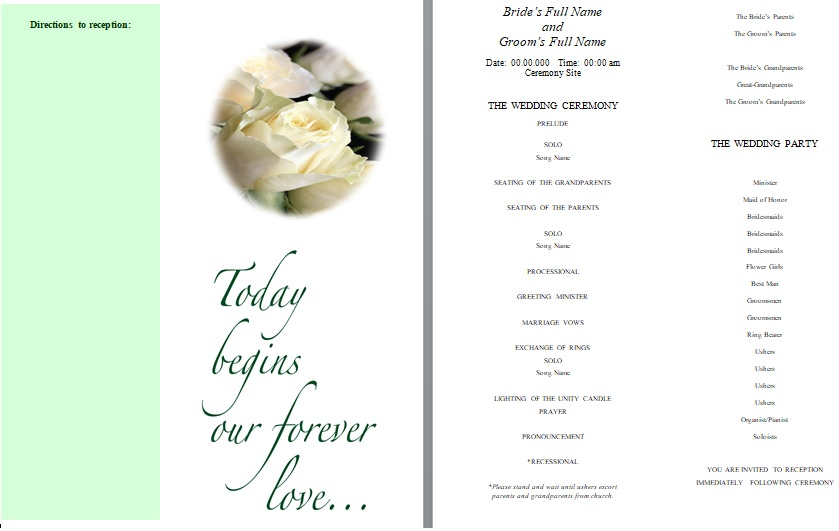 downloadable wedding program template