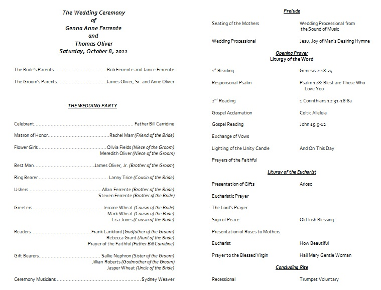 modern wedding program template