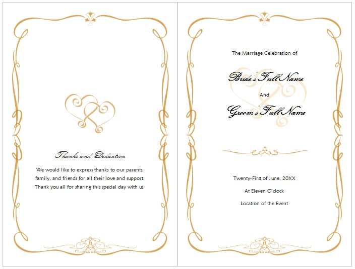 wedding program template free download