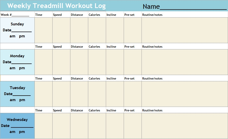 weekly treadmill workout log