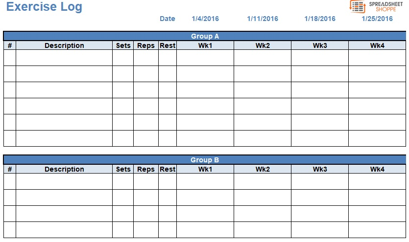 workout log template excel