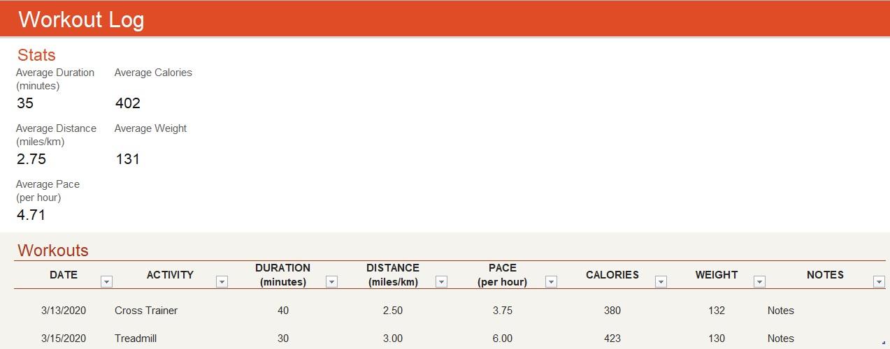 workout tracker template