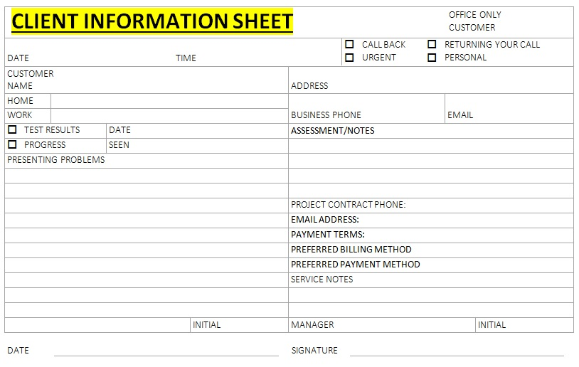 client information sheet doc