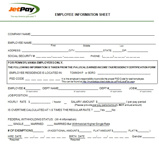 company employee information sheet