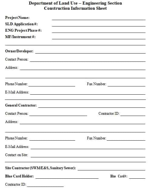 construction company information sheet
