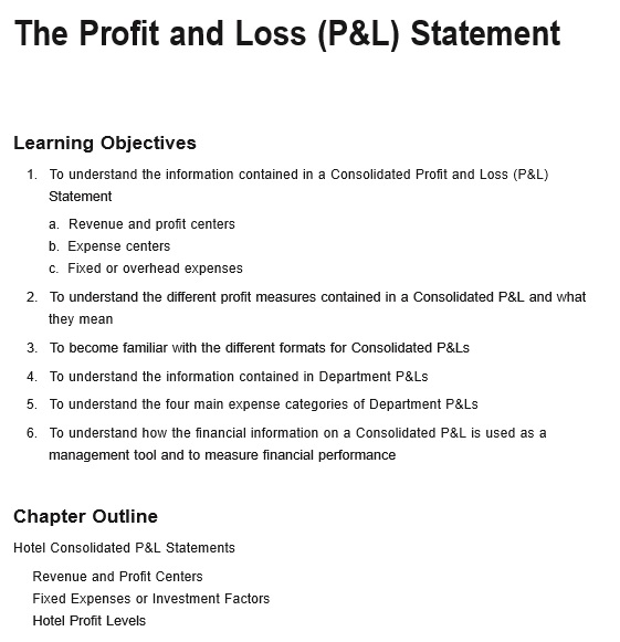 free restaurant monthly profit and loss statement template