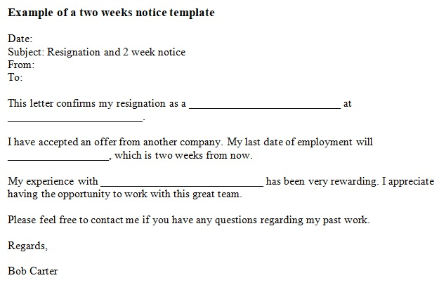 giving two weeks notice