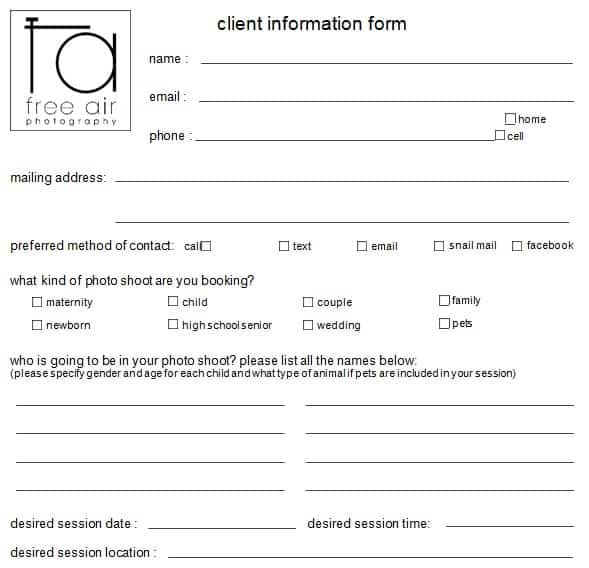 photography client information sheet