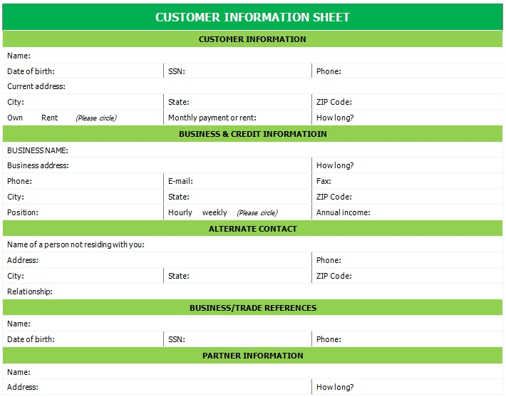 printable customer information sheet
