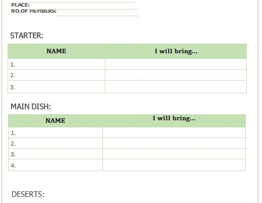printable potluck sign up sheet