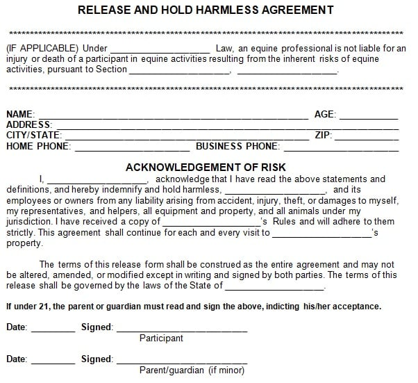 release and hold harmless agreement