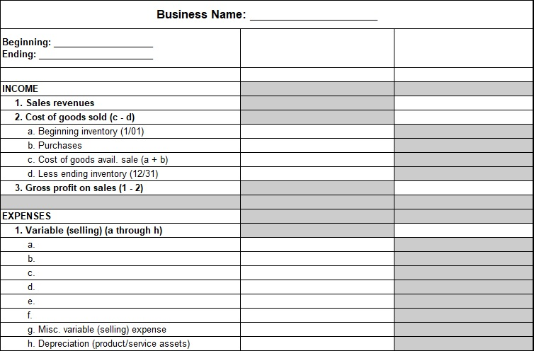 small business profit and loss template