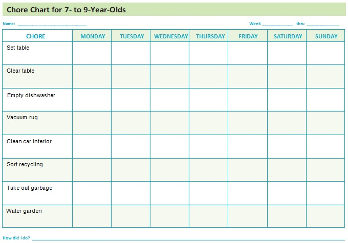 chore chart template for adults