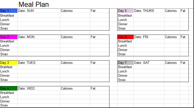 excel meal planner with macros