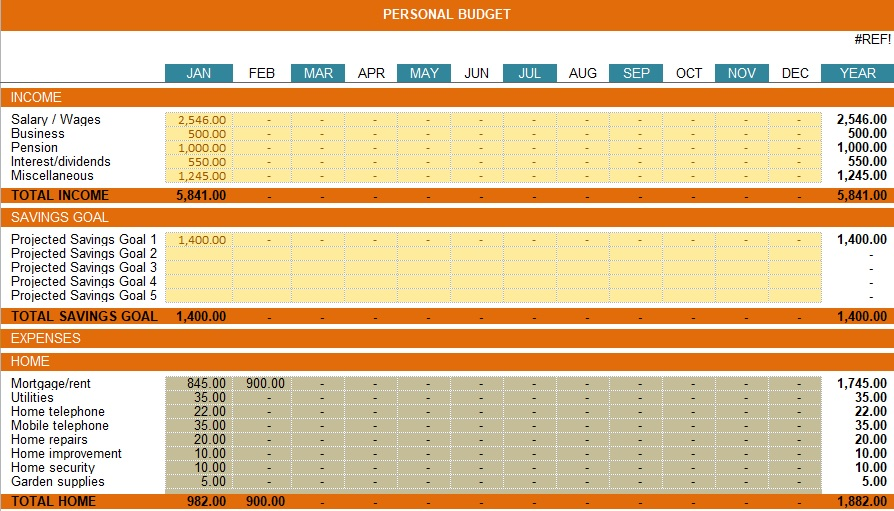 savings goal tracker excel template