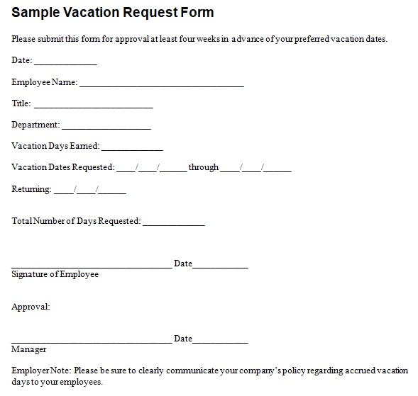 vacation application form