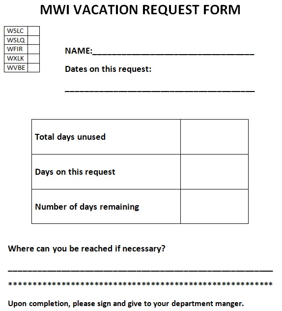 time off request form word
