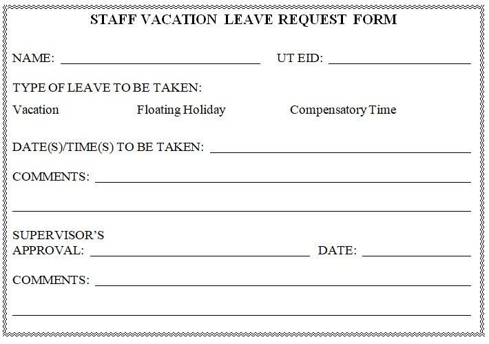 vacation leave form sample format