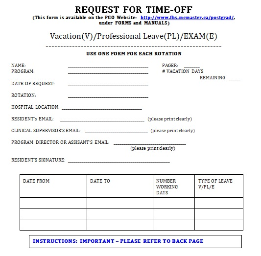 vacation day request form