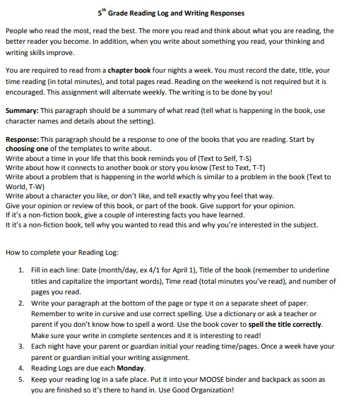 5th grade reading log and writing responses template