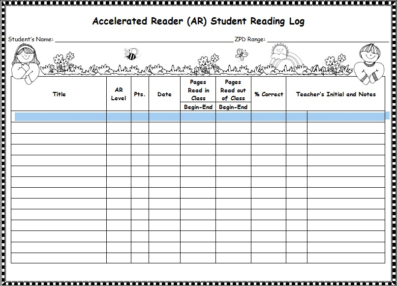 accelerated reader (AR) student reading log template