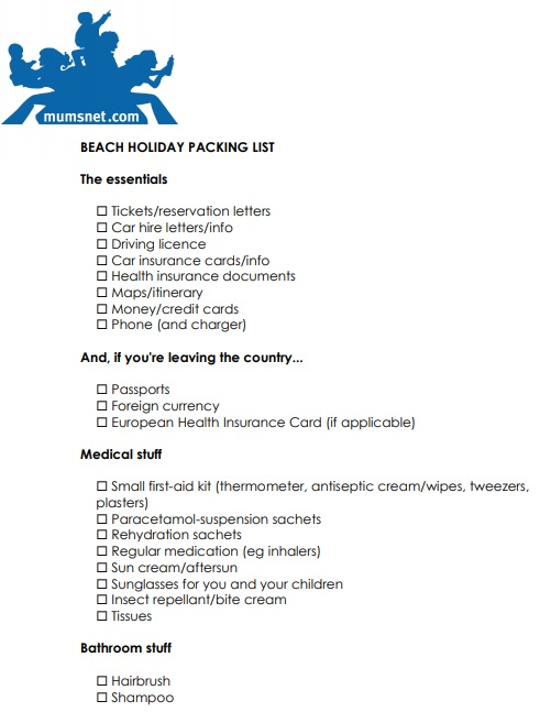 beach holiday packing list template
