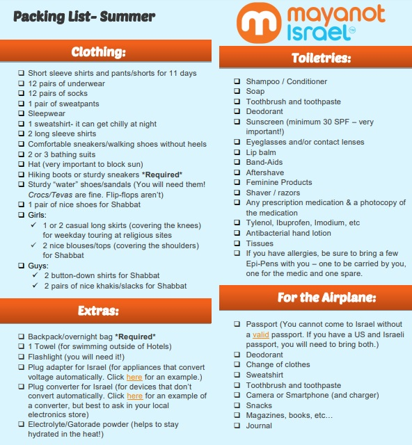 best summer packing list template