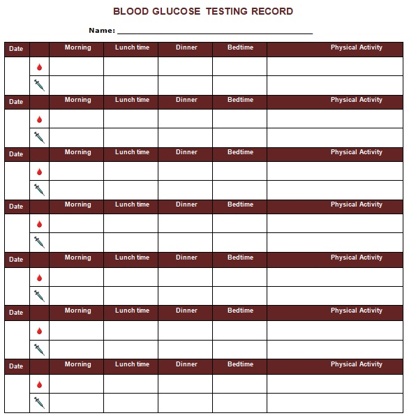 blood glucose testing record template
