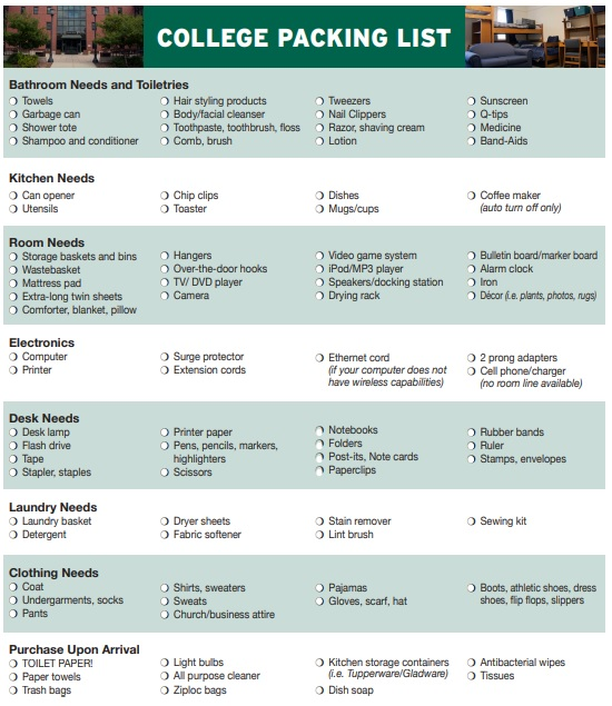 college packing list template