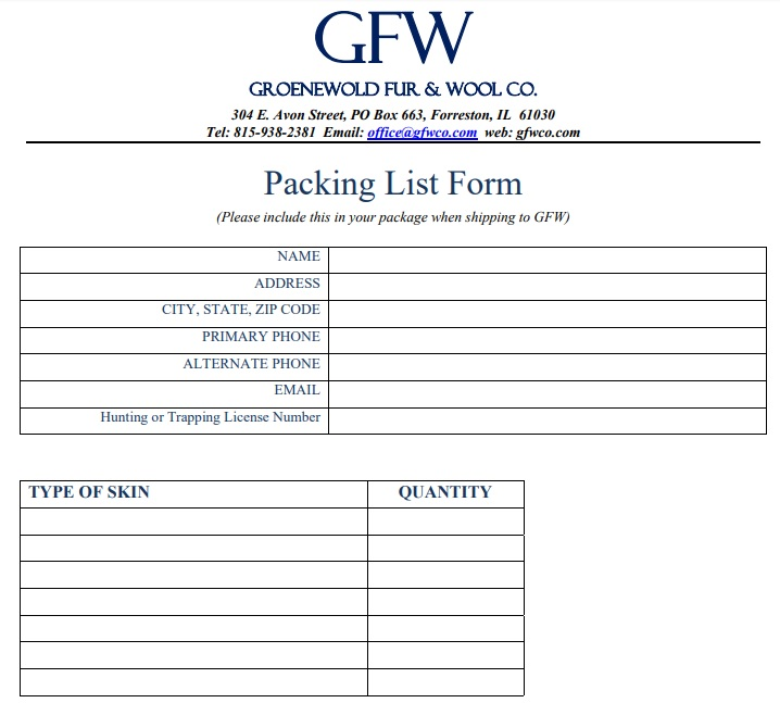 example of a packing list form