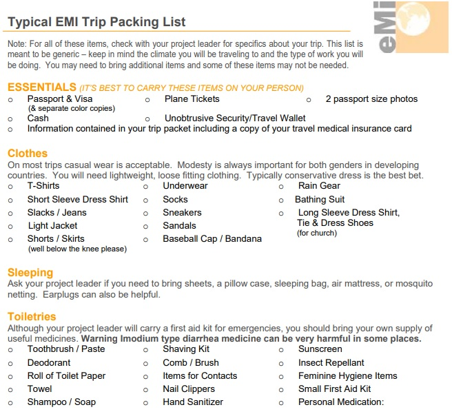 free trip packing list template