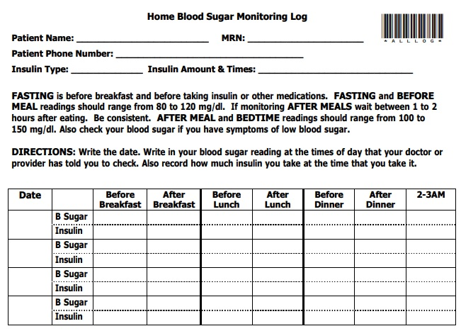 home blood sugar monitoring log template