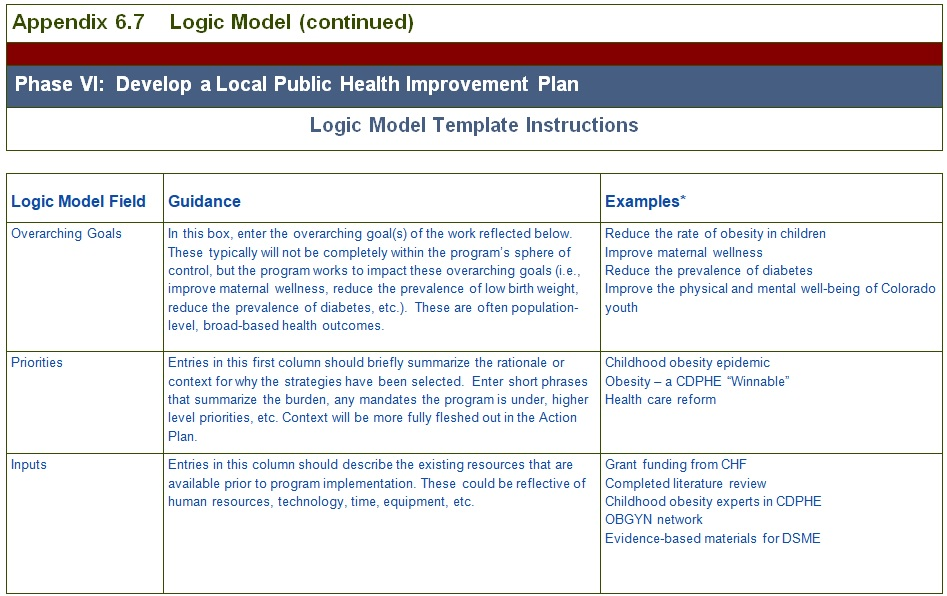 local public health logic model template
