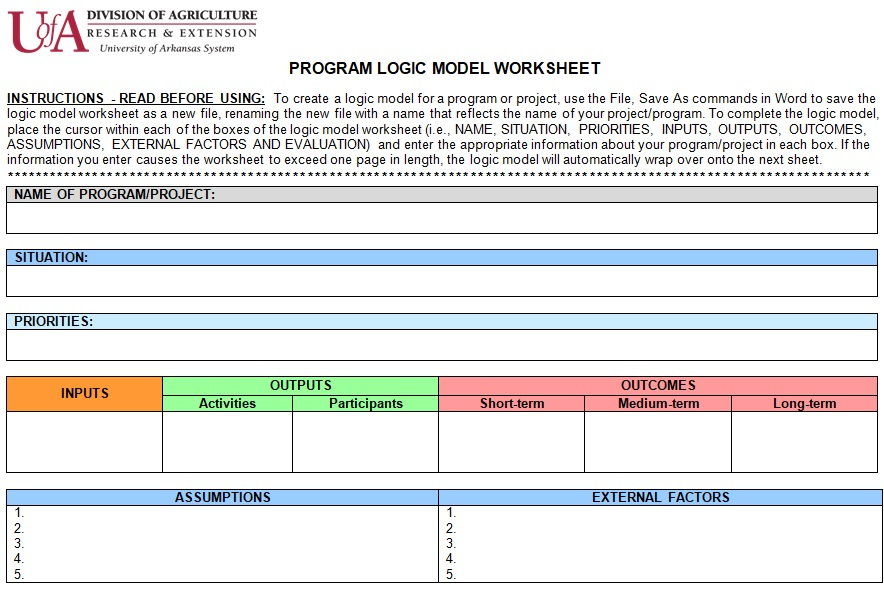 evaluation logic model template