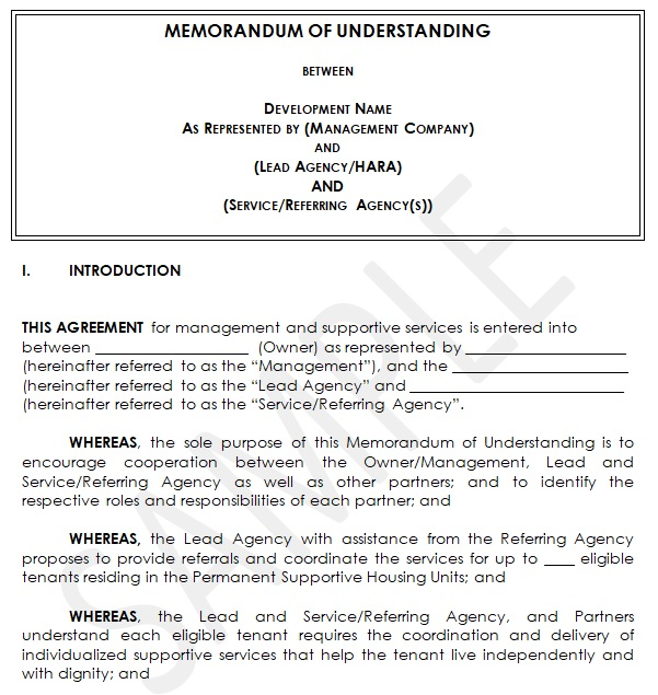 mou agreement sample