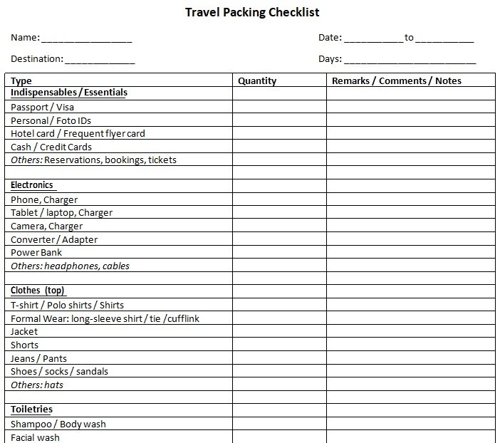 microsoft word packing list template