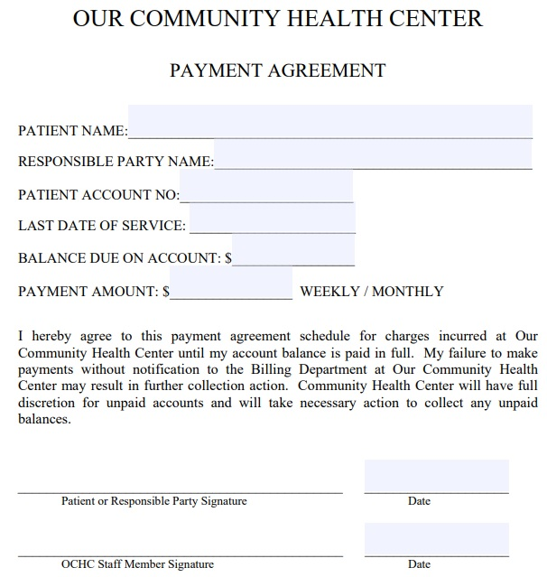 professional payment agreement template