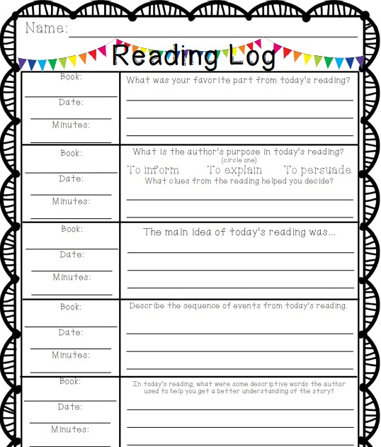 high school reading log template